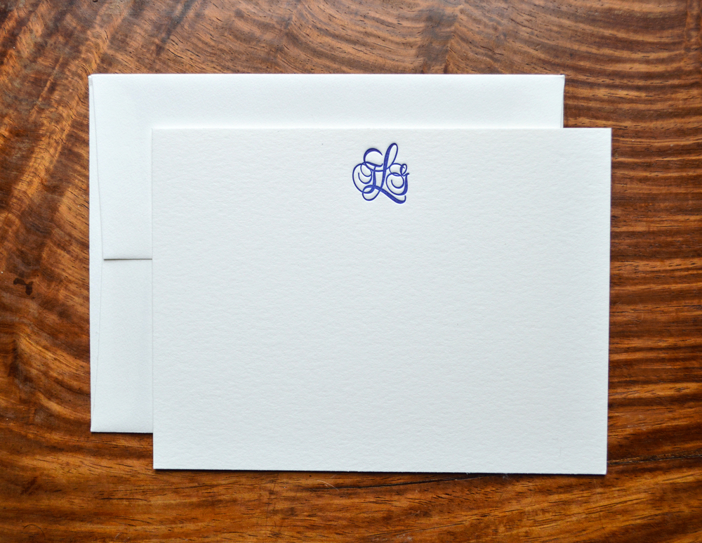 TLG monogram letterpress notecard