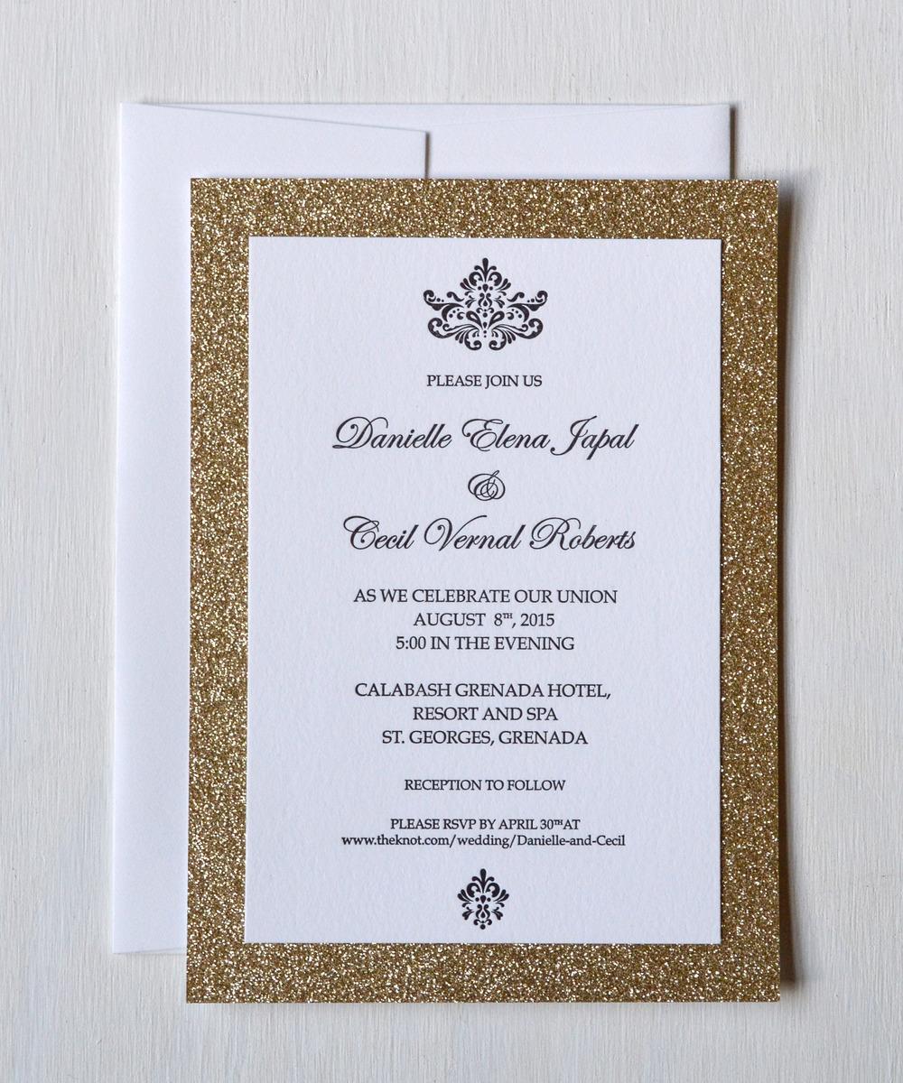 glitzy gold sparkle letterpress wedding invitation 1.jpg