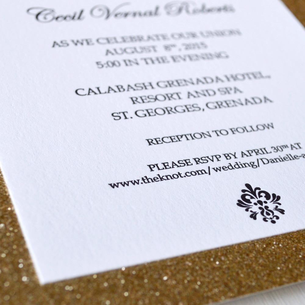 glitzy gold sparkle letterpress wedding invitation 3.jpg