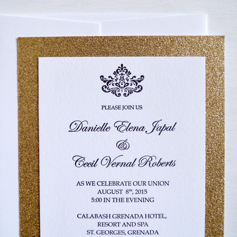 glitzy gold sparkle letterpress wedding invitation 2.jpg