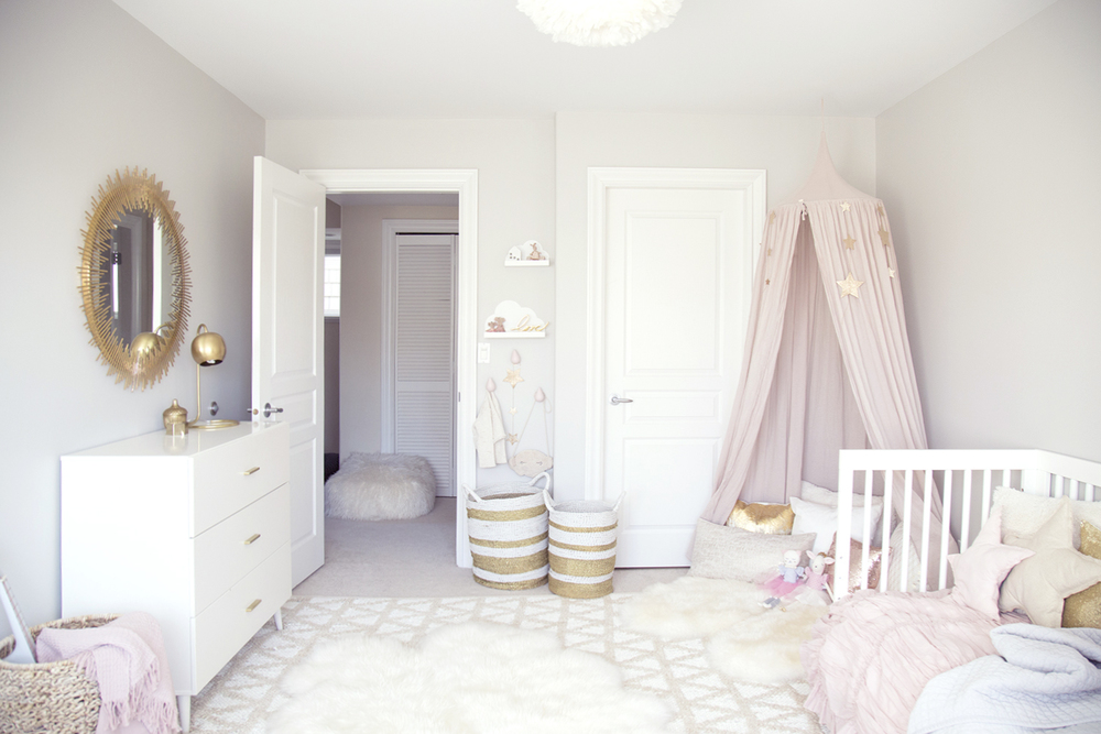pink  gold  grey and white overall girl room. ELLA S SOFT PINK AND GOLD TODDLER ROOM   WINTER DAISY interiors
