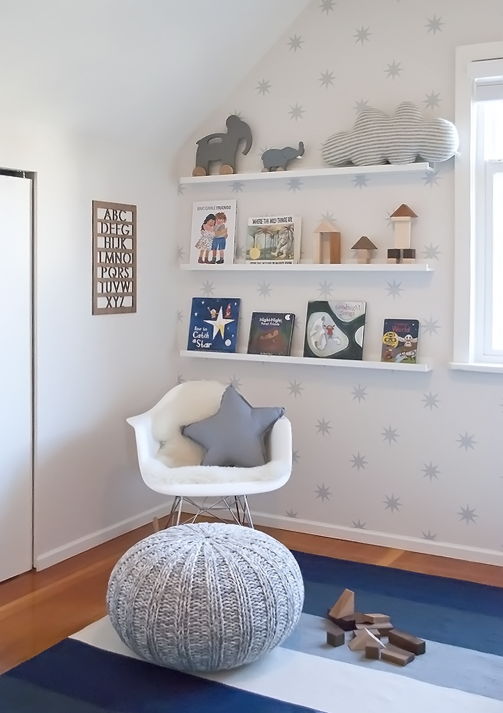 book wall in toddler boy room