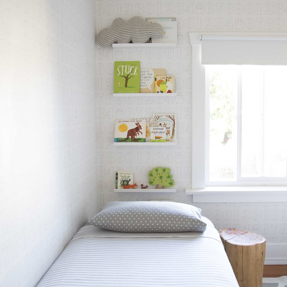 book wall kids room green