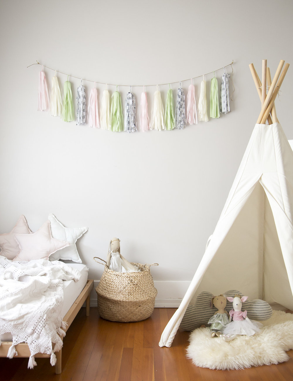 tassel garland in children's room