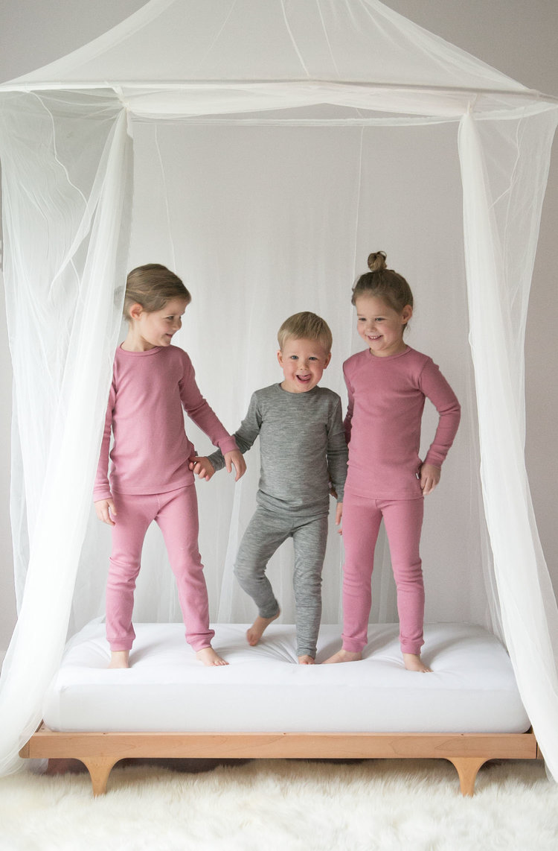 the kids in merino wool pajamas from simply merino