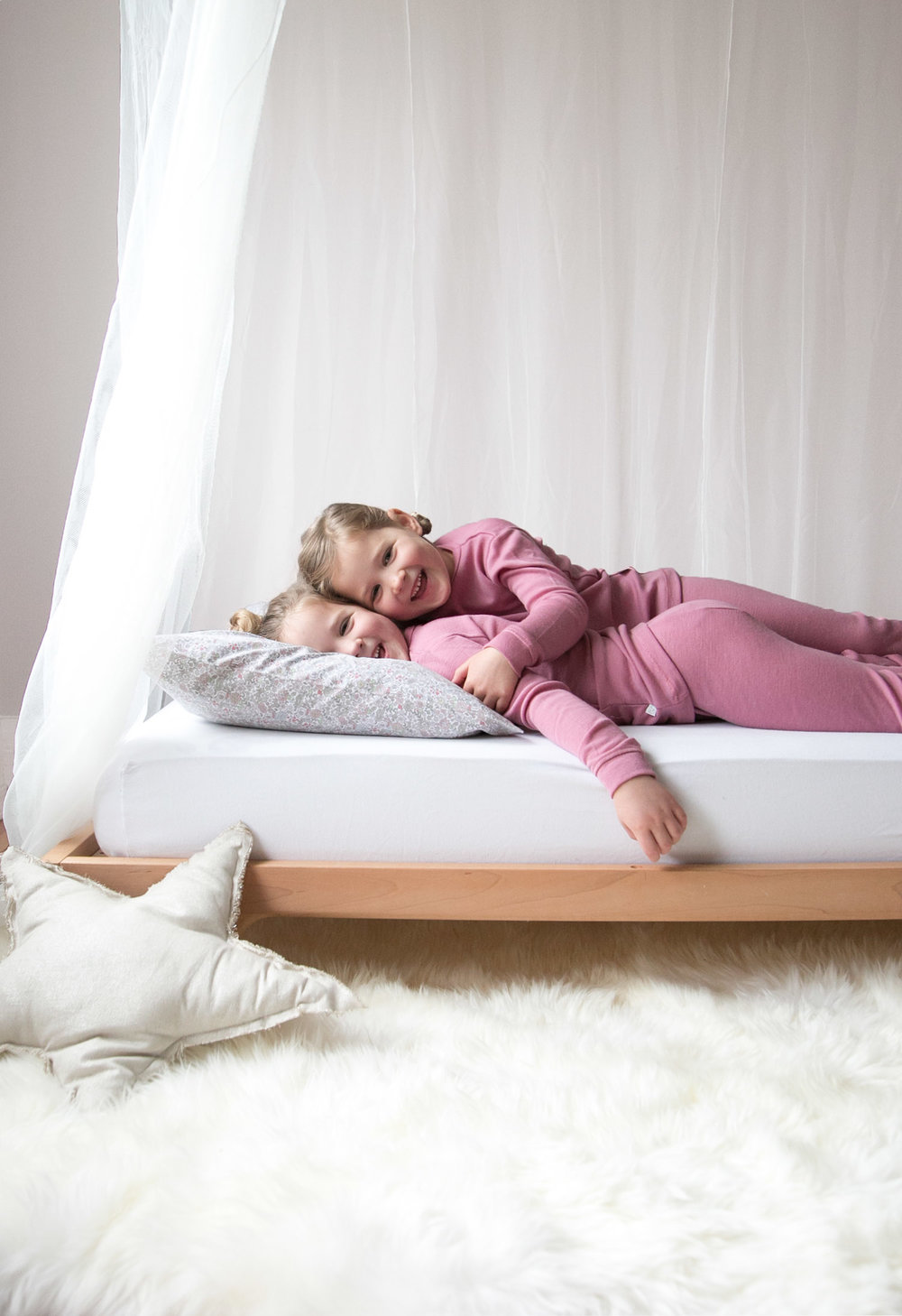 girls in merino wool pajamas from simply merino