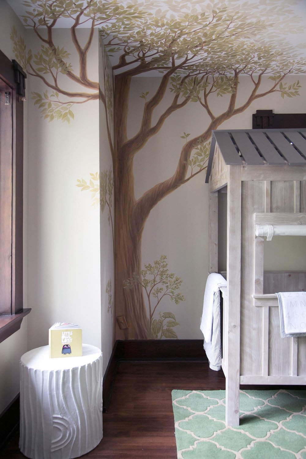 Amazing tree mural in boys room