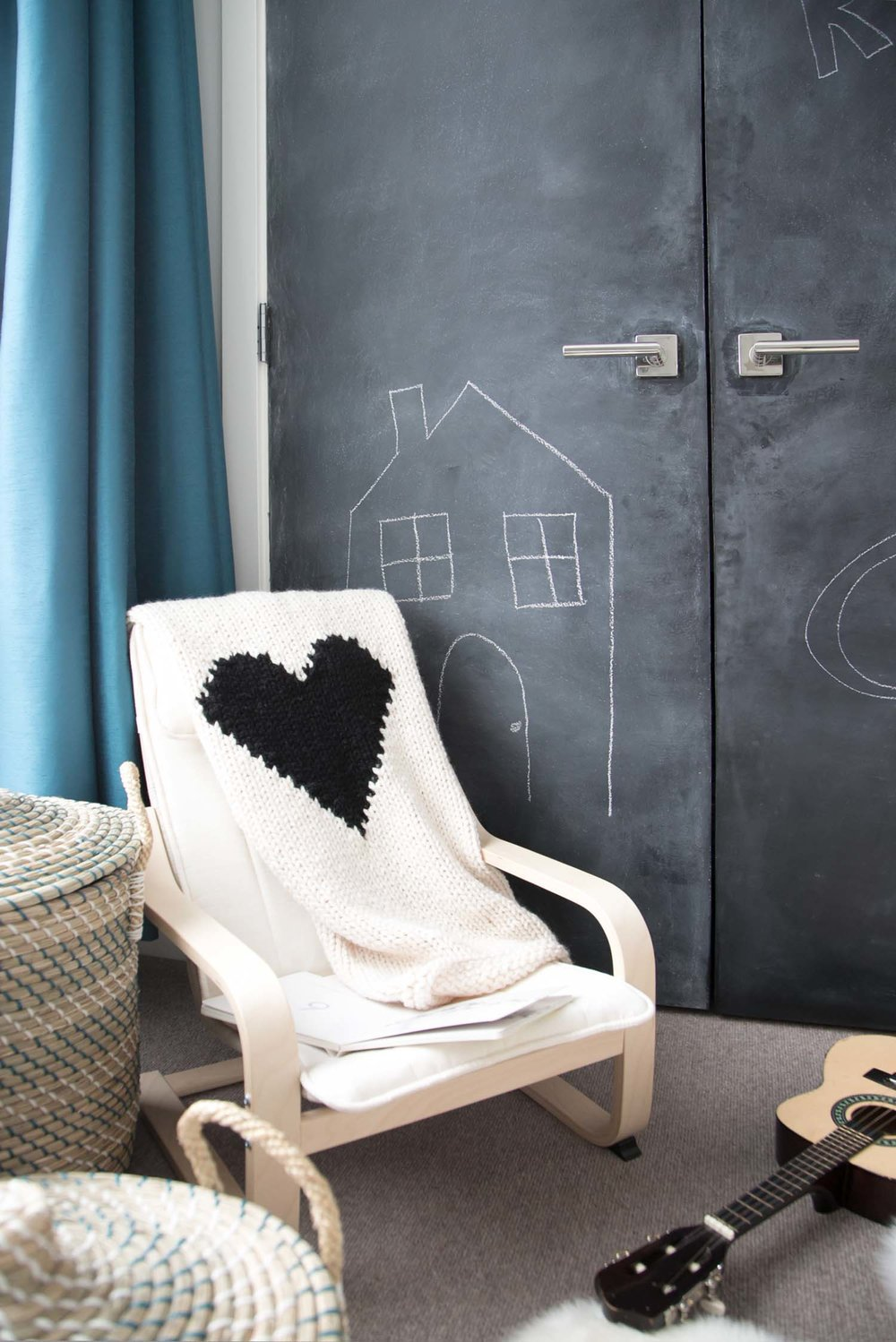 chalkboard closet in vancouver kids room