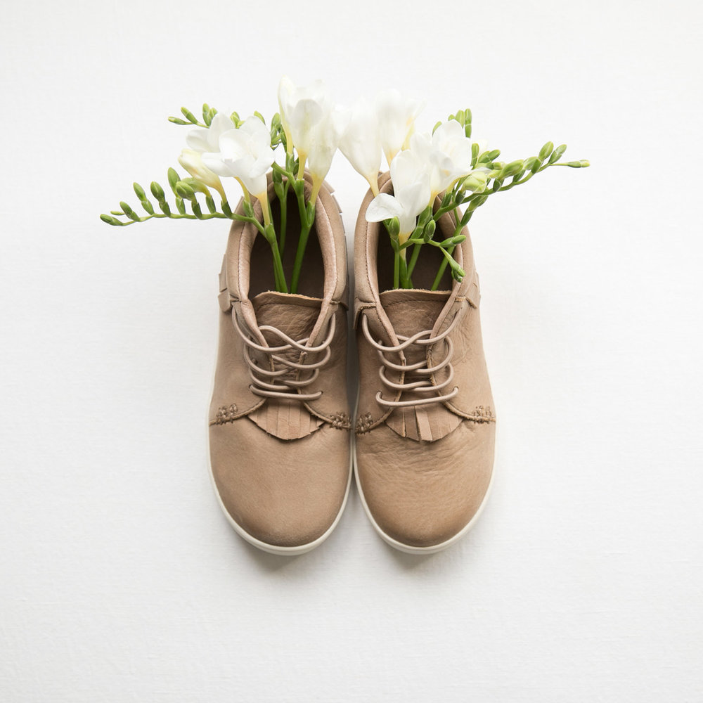 flowers in kids brown suede shoes