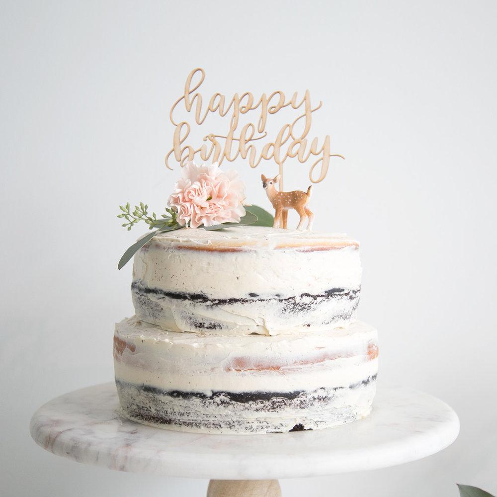 happy birthday naked cake