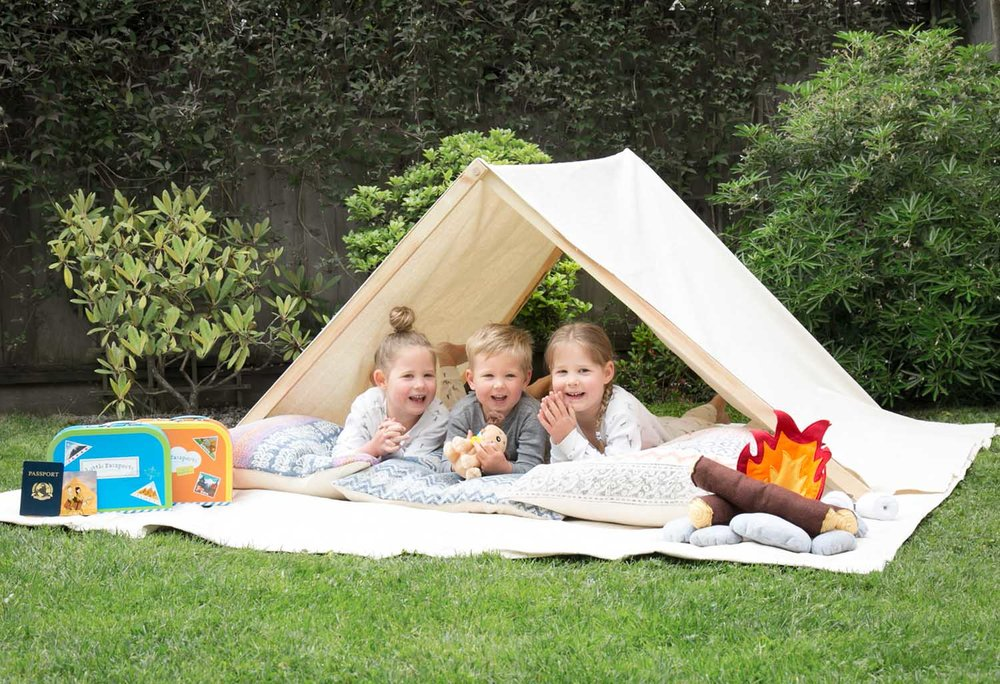 backyard camping with Little Passports