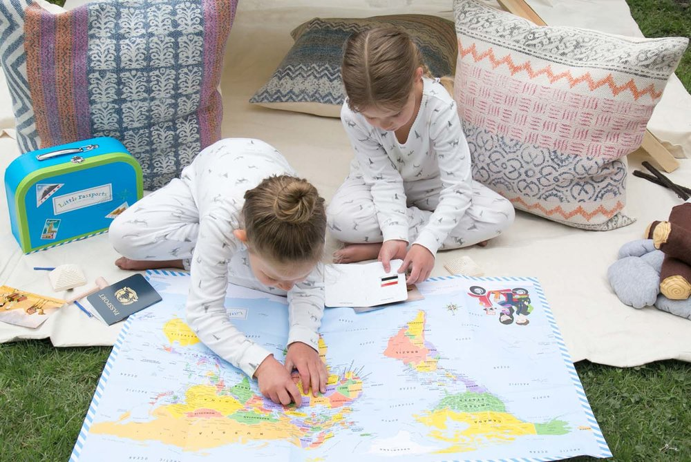exploring a world map