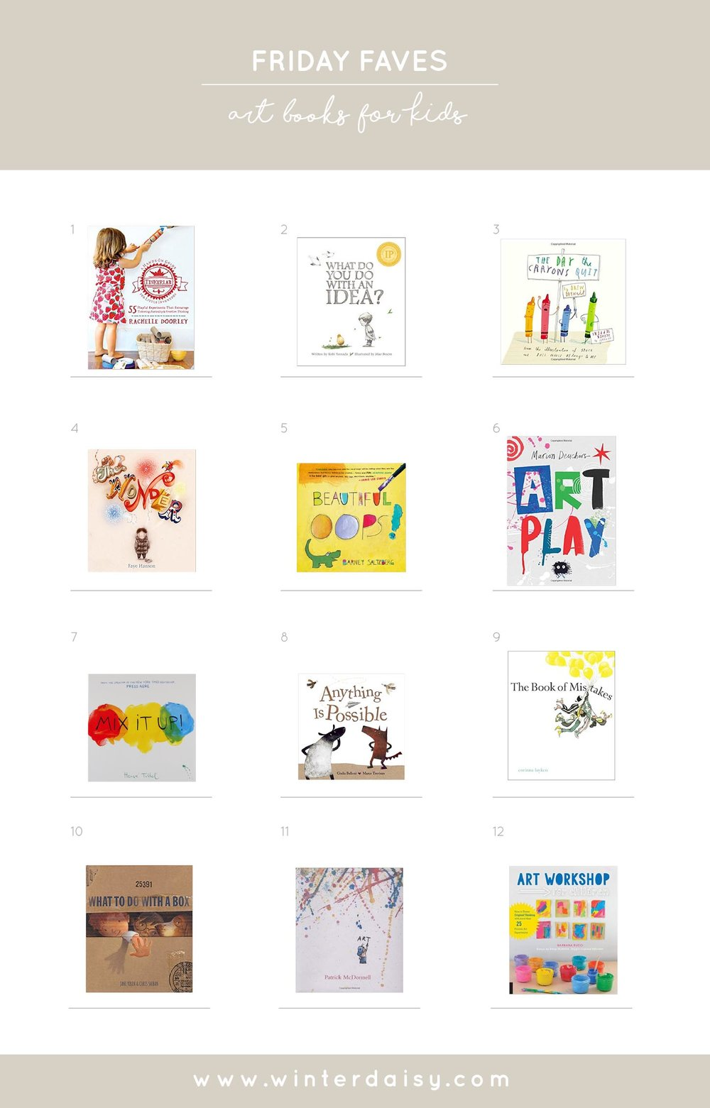 12 art books for kids and children of all ages