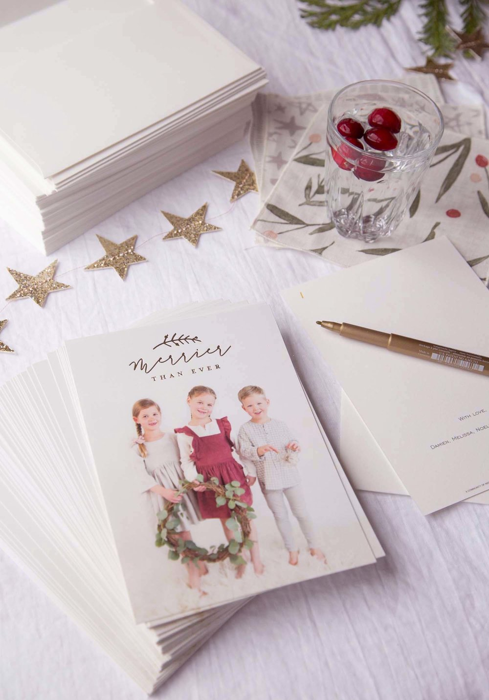 writing Christmas cards from Minted