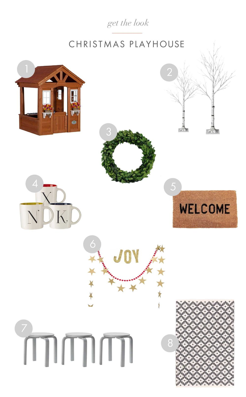 'Get the look' design board for Christmas playhouse