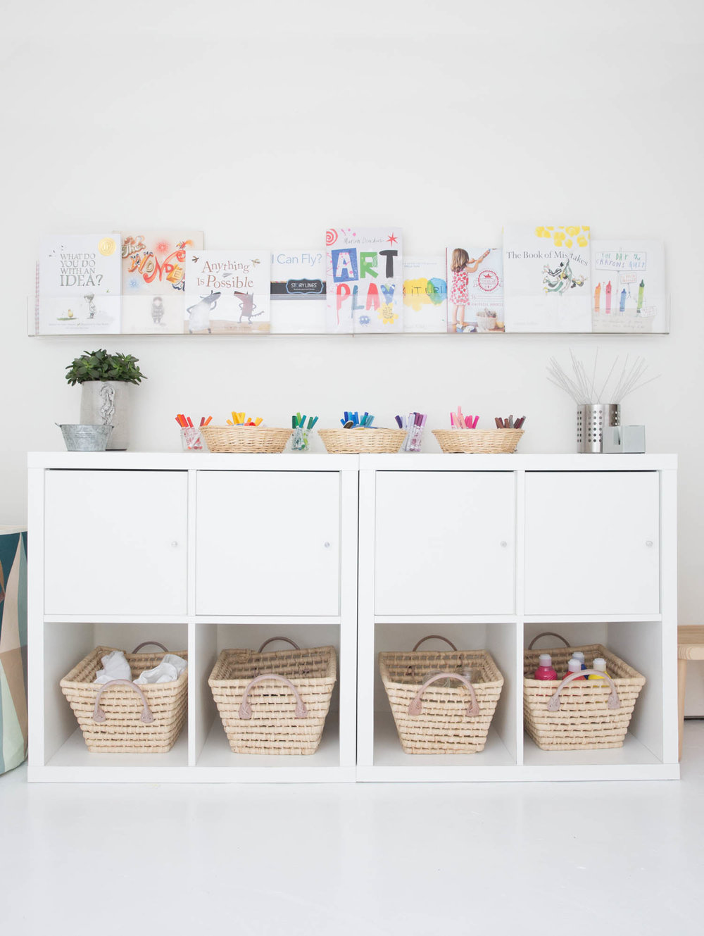Children's art room books and shelving