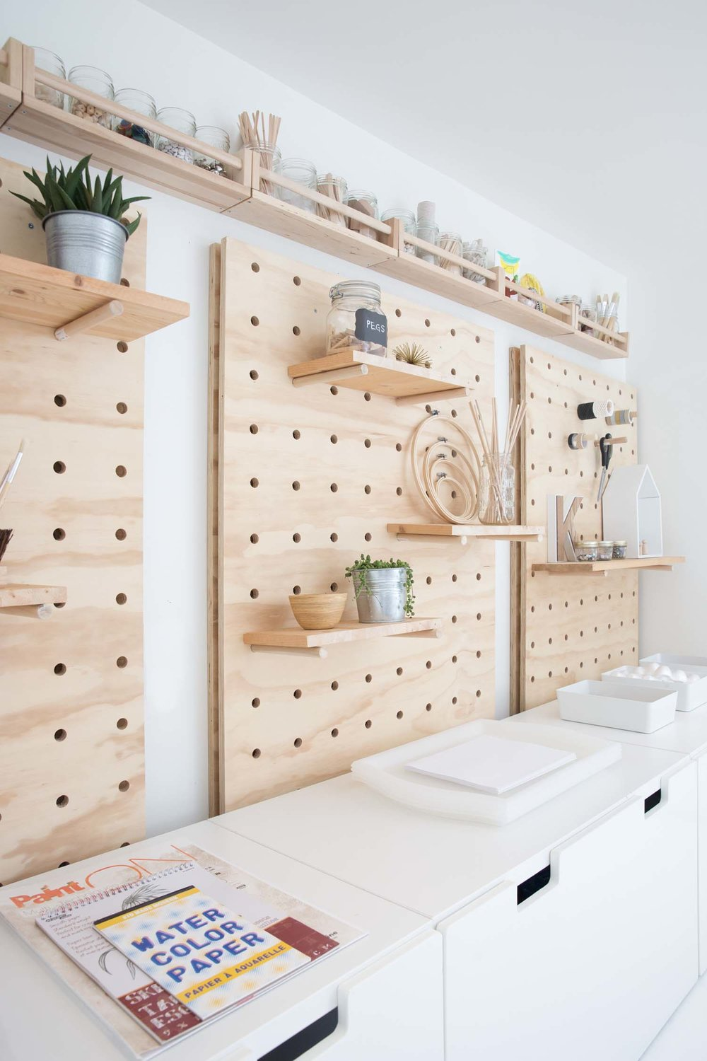 DIY large pegboard storage art room