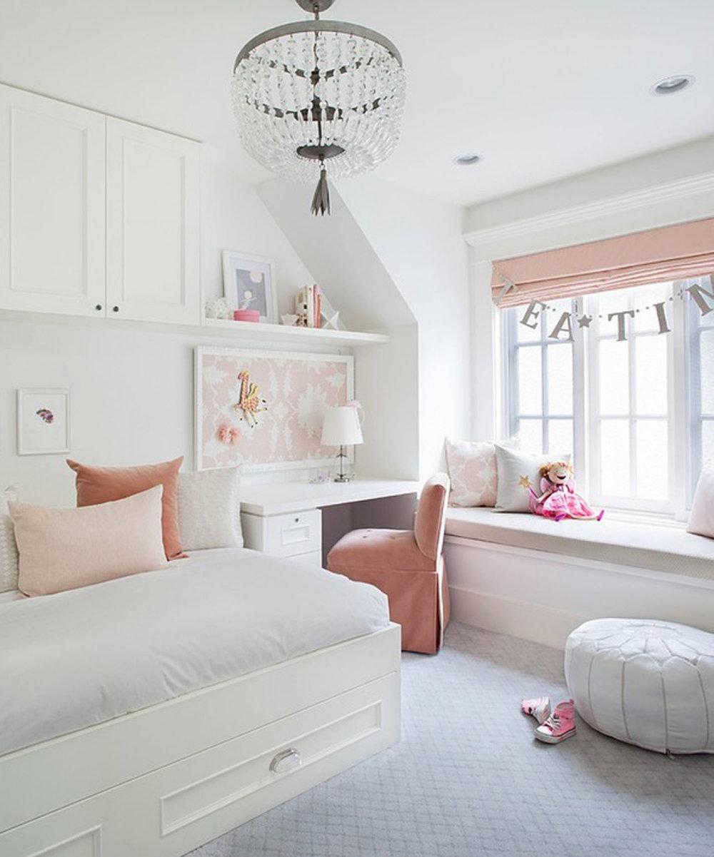 Peach hued girls room