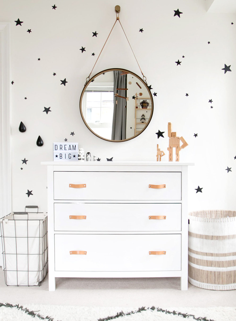 Modern white dresser in boys room