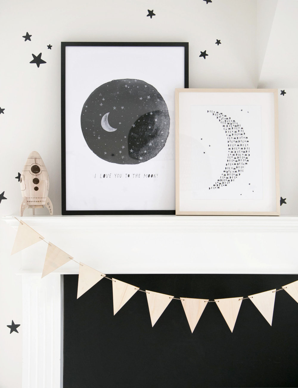 I love you to the moon kids art print on fireplace mantel