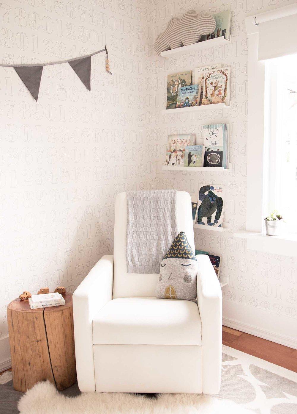 neutral reading corner in children's rooms