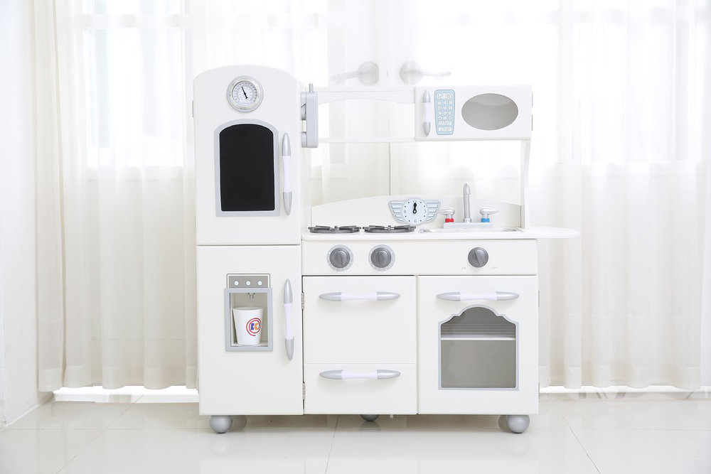 Retro white play kitchen for kids