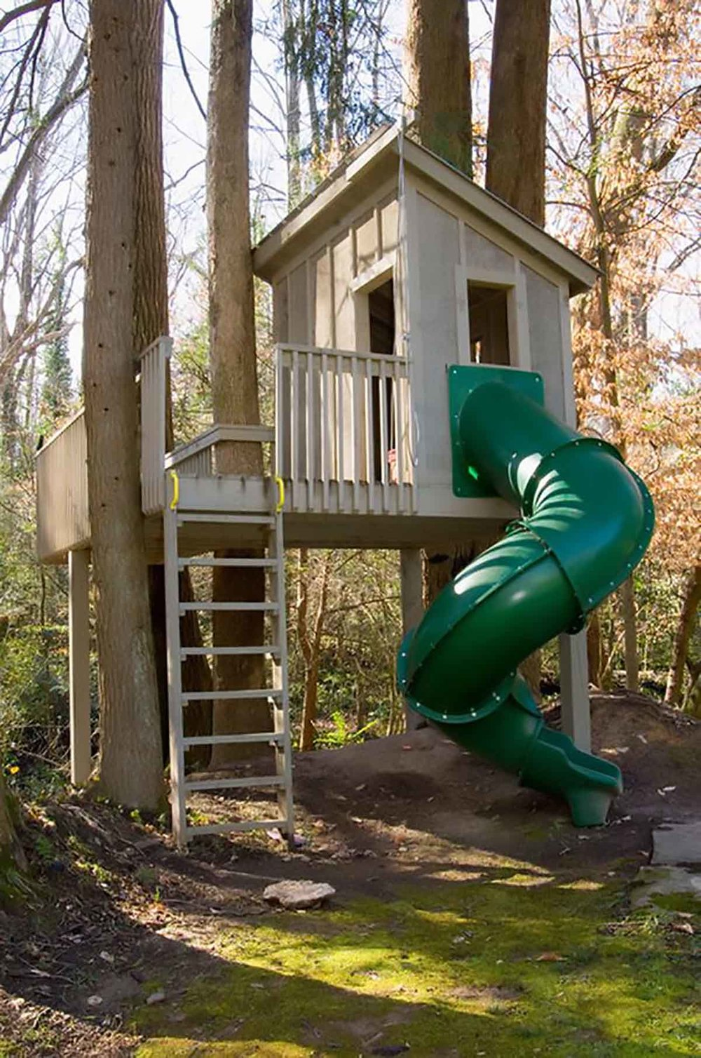 kids treehouse with twirly slide