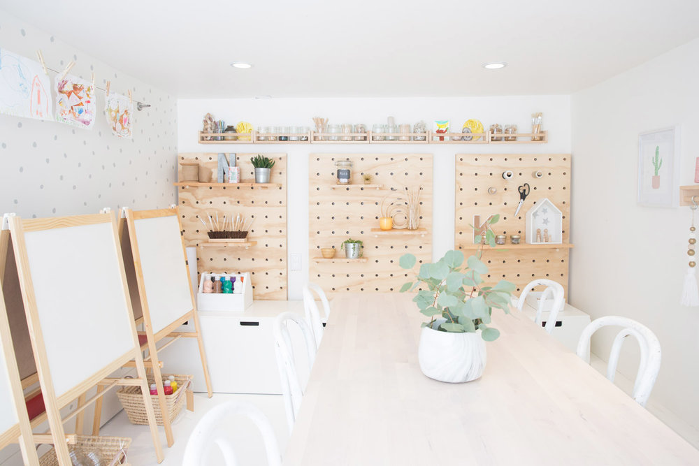 DIY giant pegboards in a children's art space