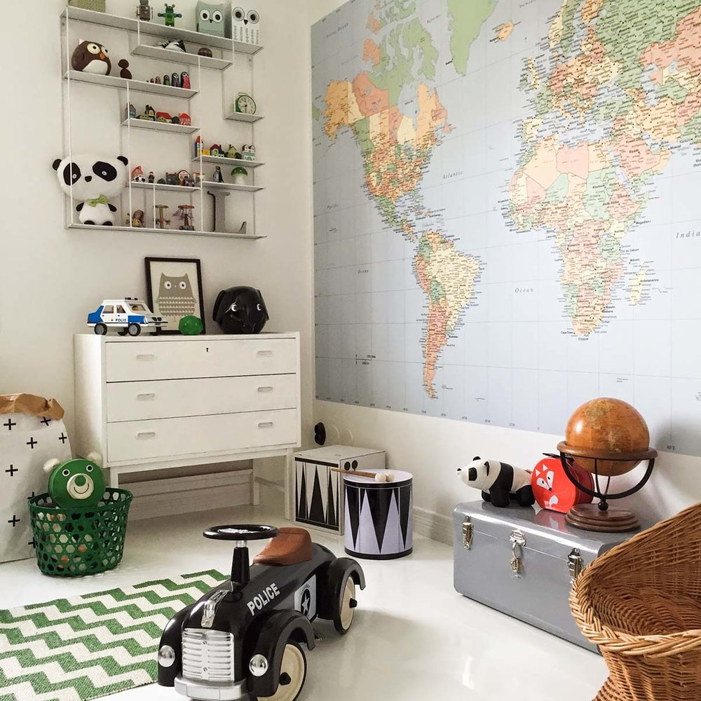 kids playroom with world map