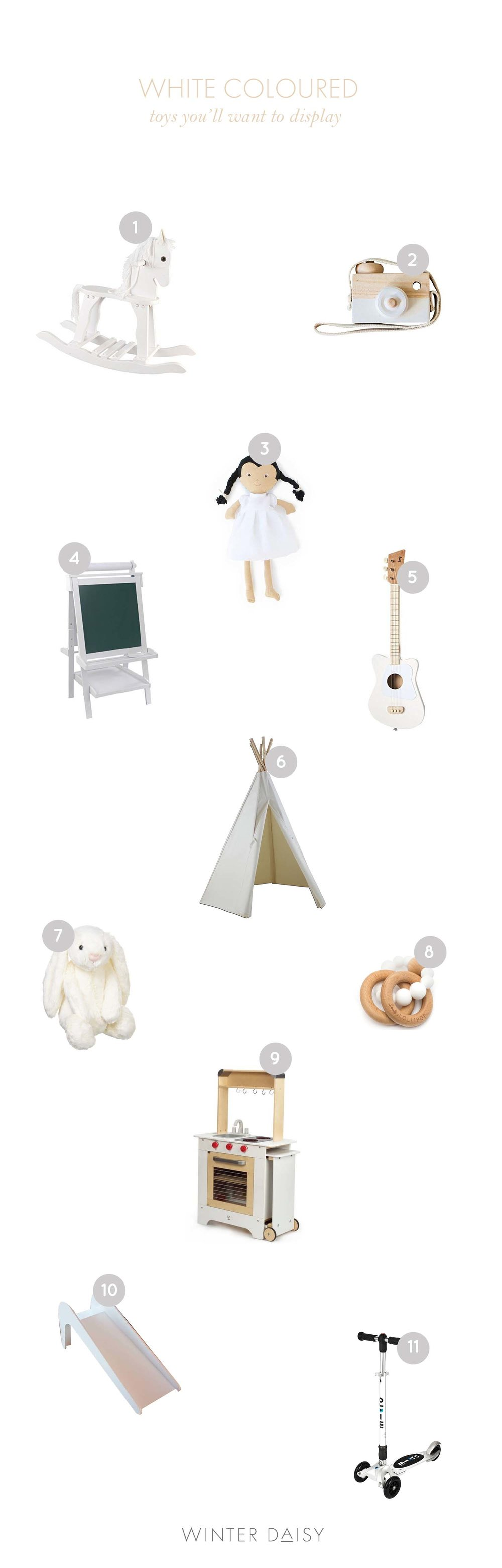 White toys for kids