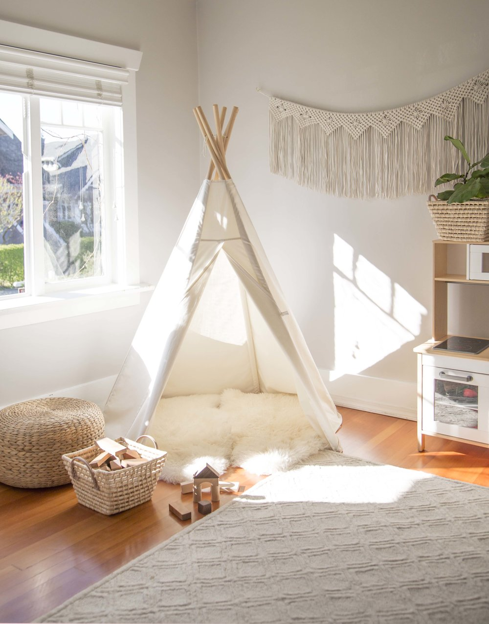 canvas teepee in children's playroom