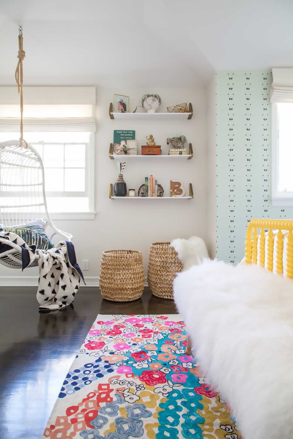 teen room with hanging rattan chair
