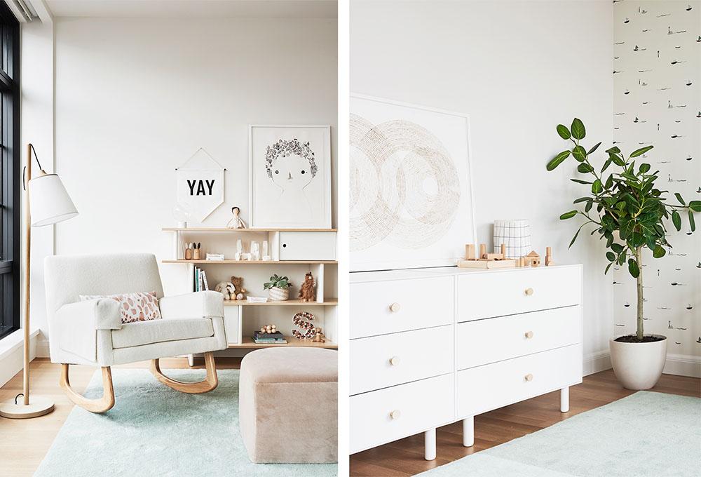 chair corner and dresser in baby nursery design