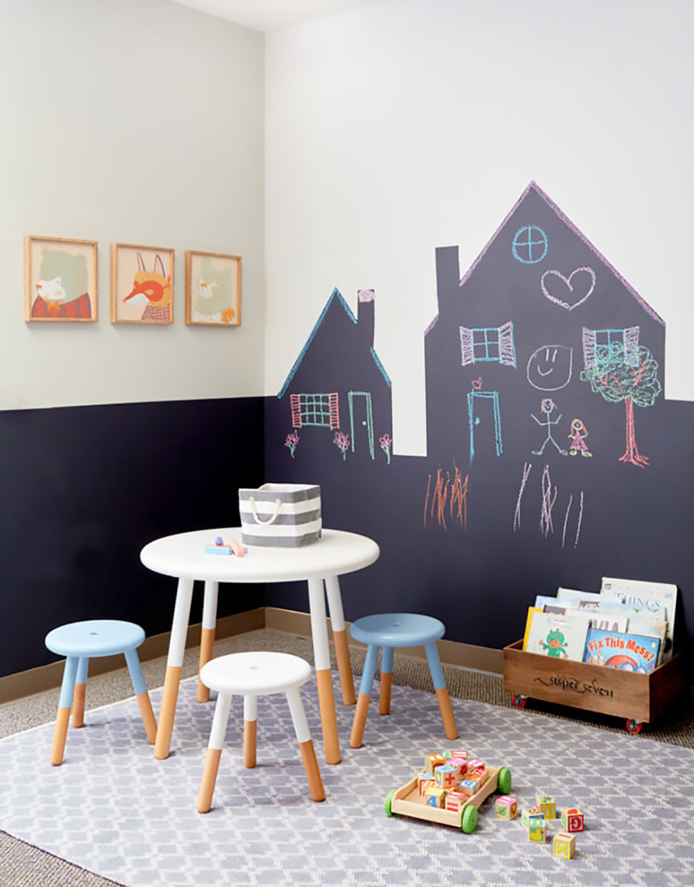 chalk paint defines corner play area