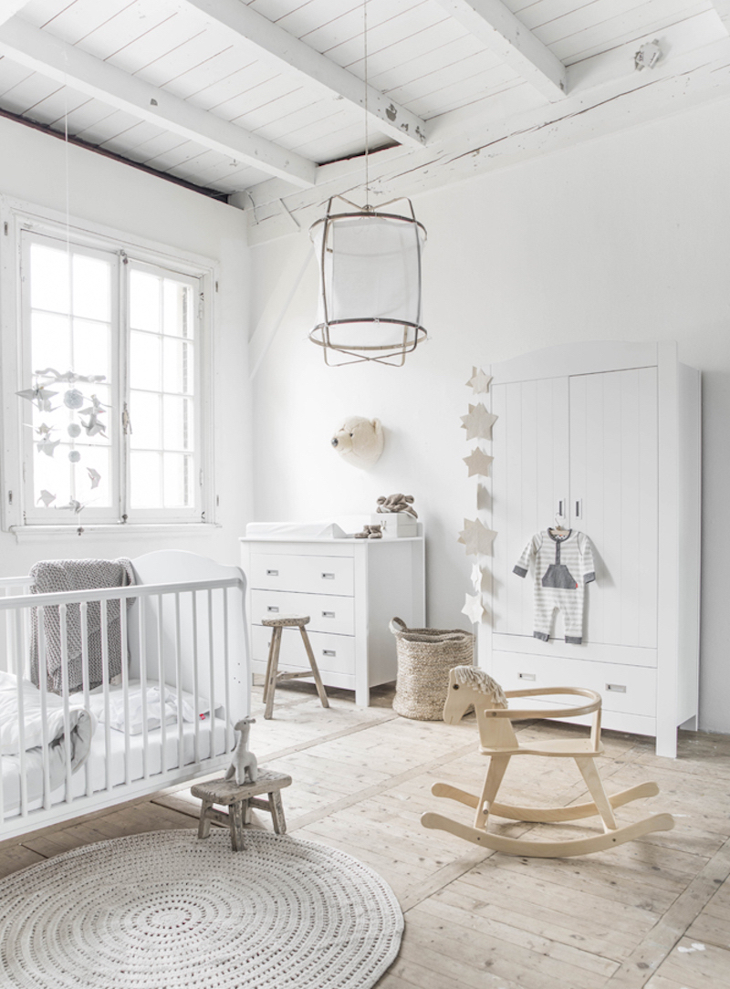 all white baby nursery