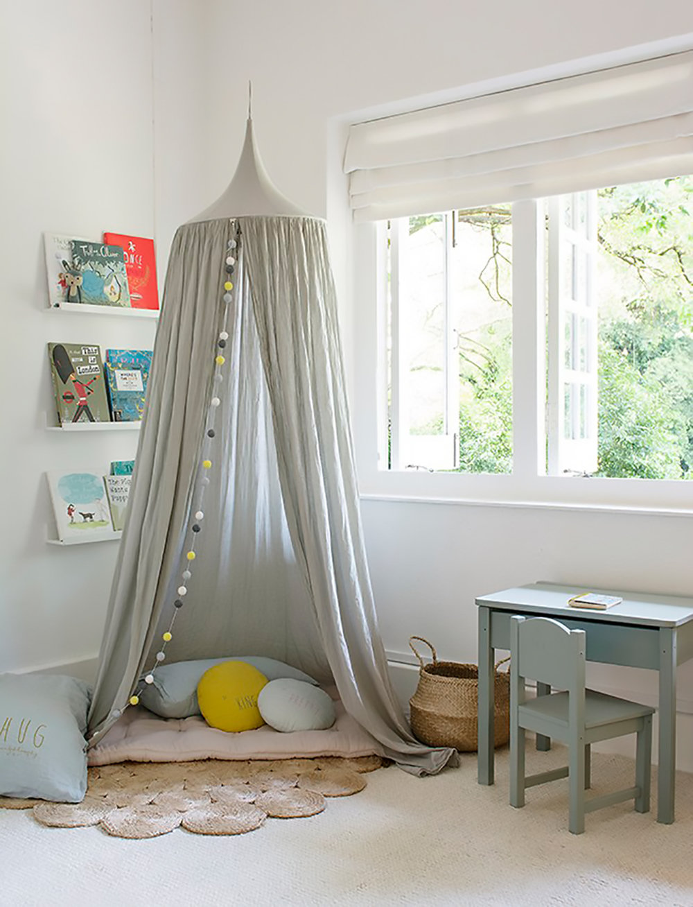 soft kids room canopy and jute rug