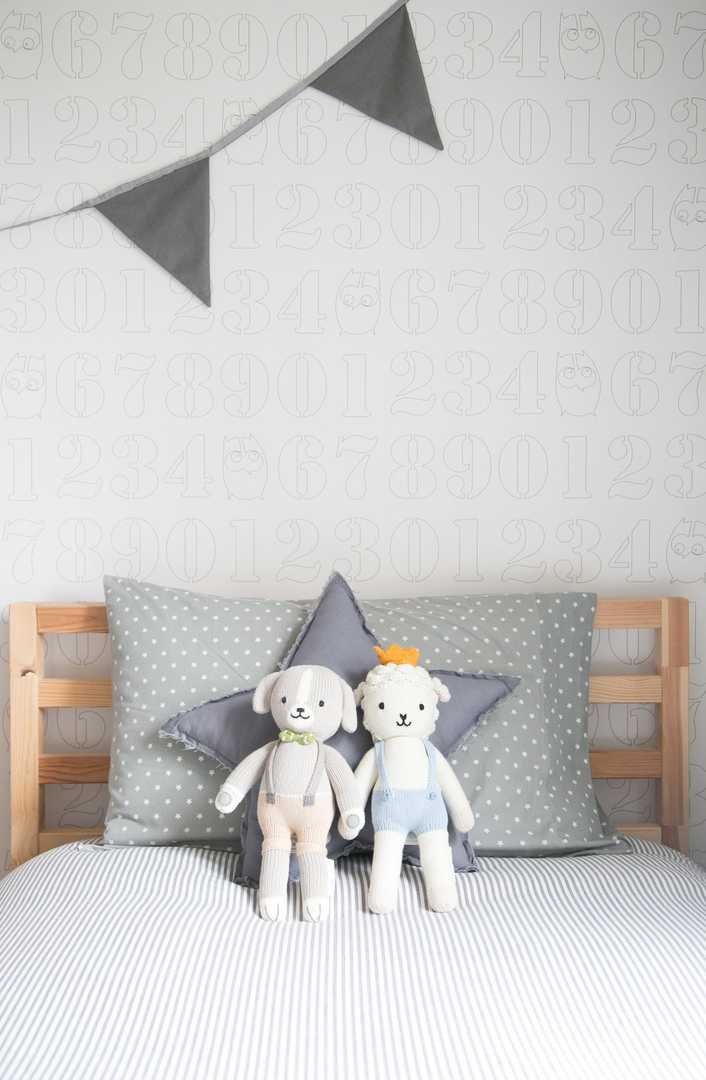 numbers wallpaper and cuddle + kind dolls
