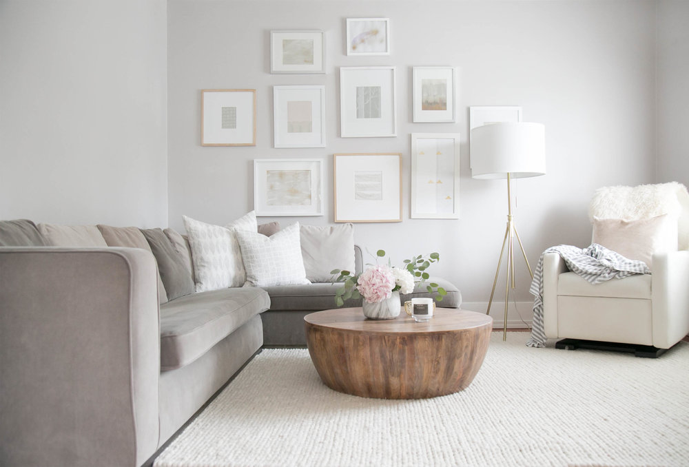 A soft and neutral living room in the home of Vancouver Interior Designer Melissa Barling of Winter Daisy Interiors