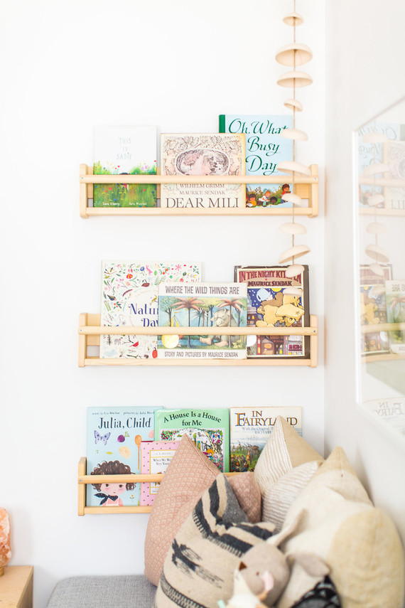 book wall in baby nursery