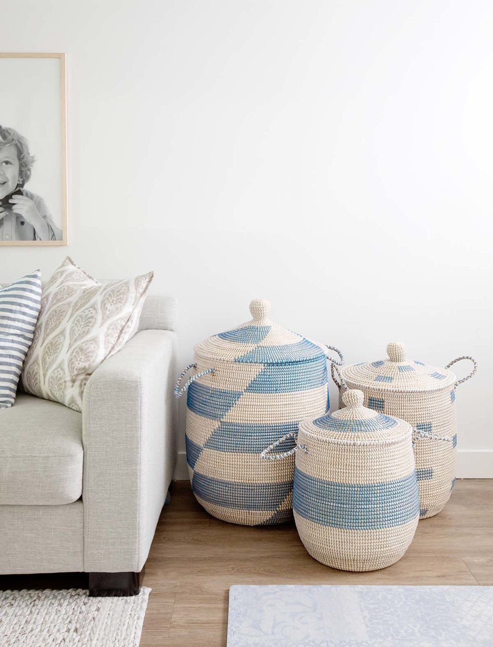 blue and rattan baskets with lids