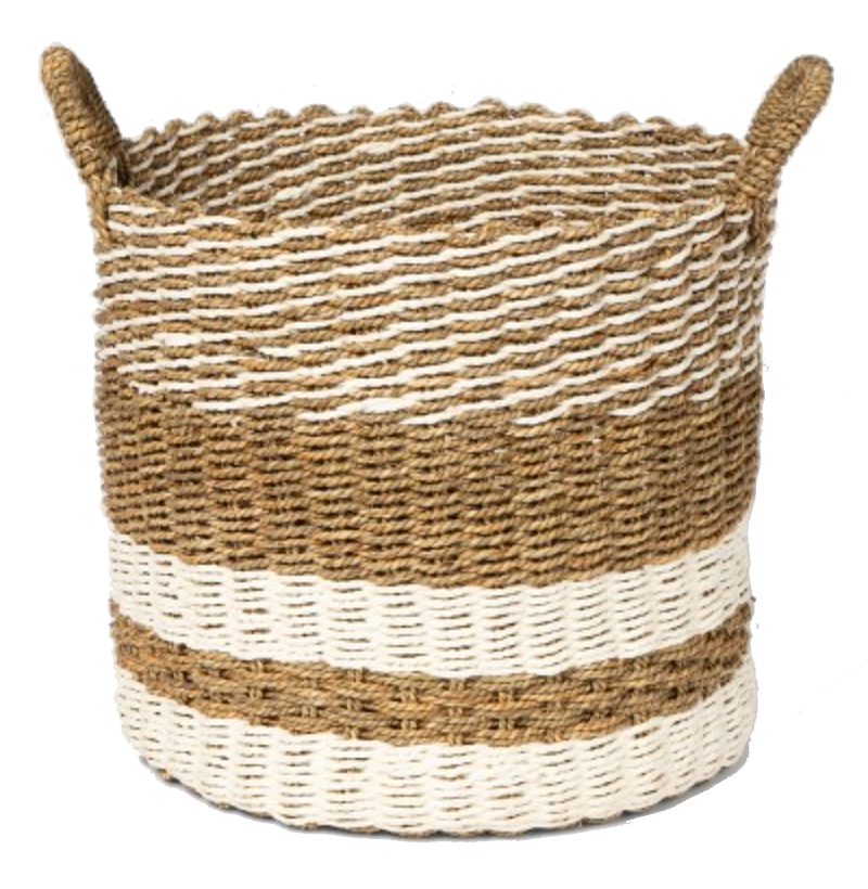 jute stripe basket
