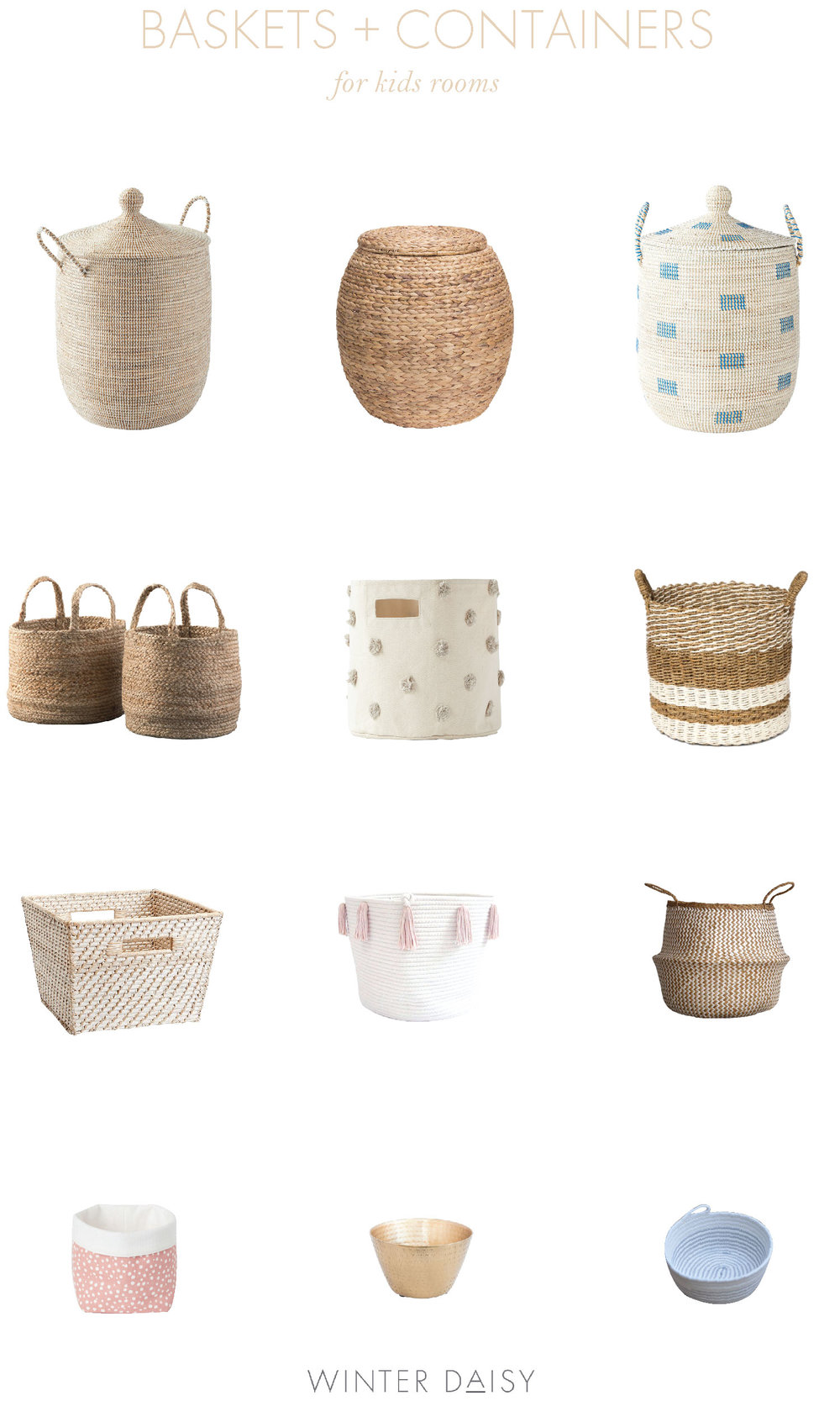 storage baskets, bins and bowls for kids spaces