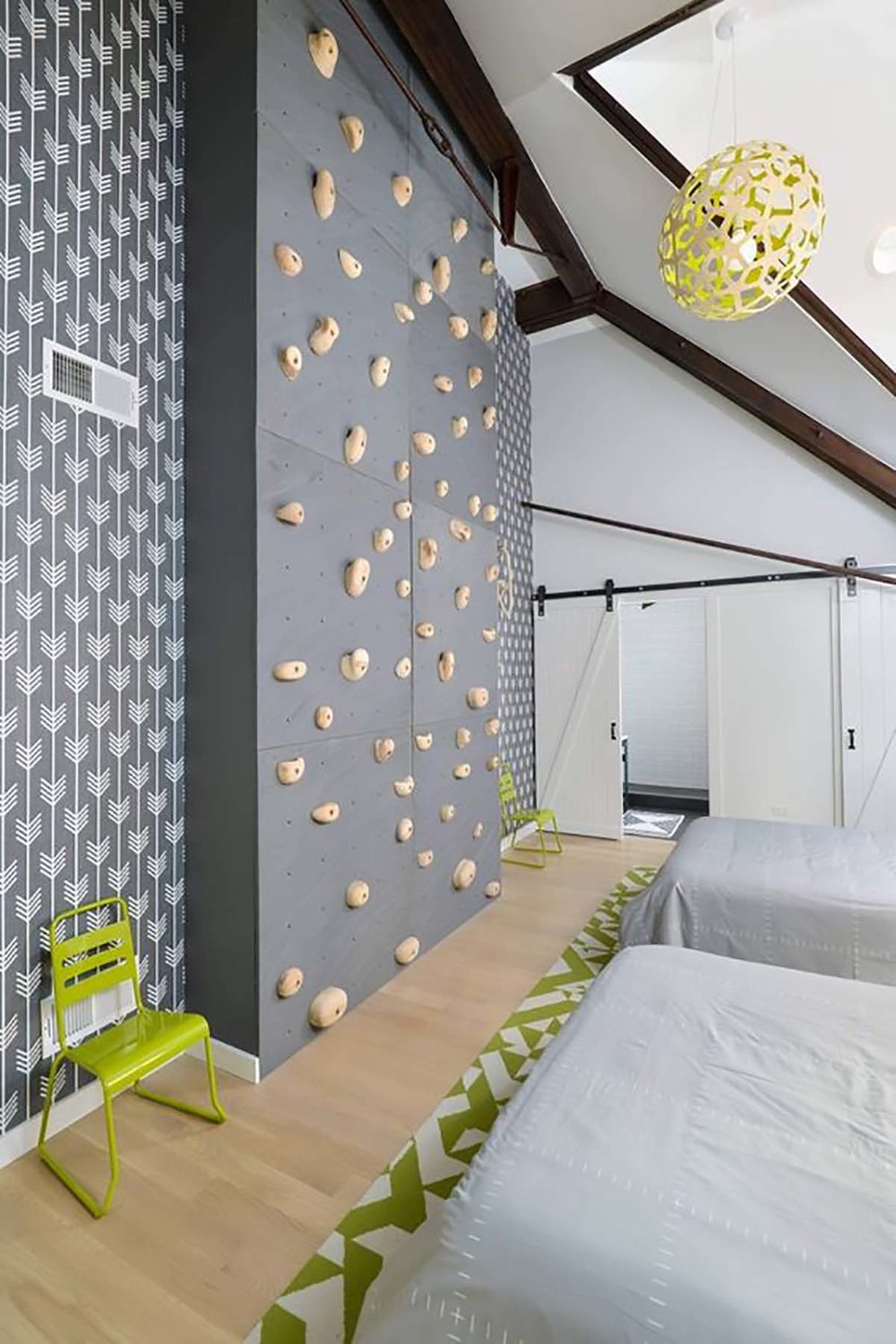 rock climbing wall in kids room