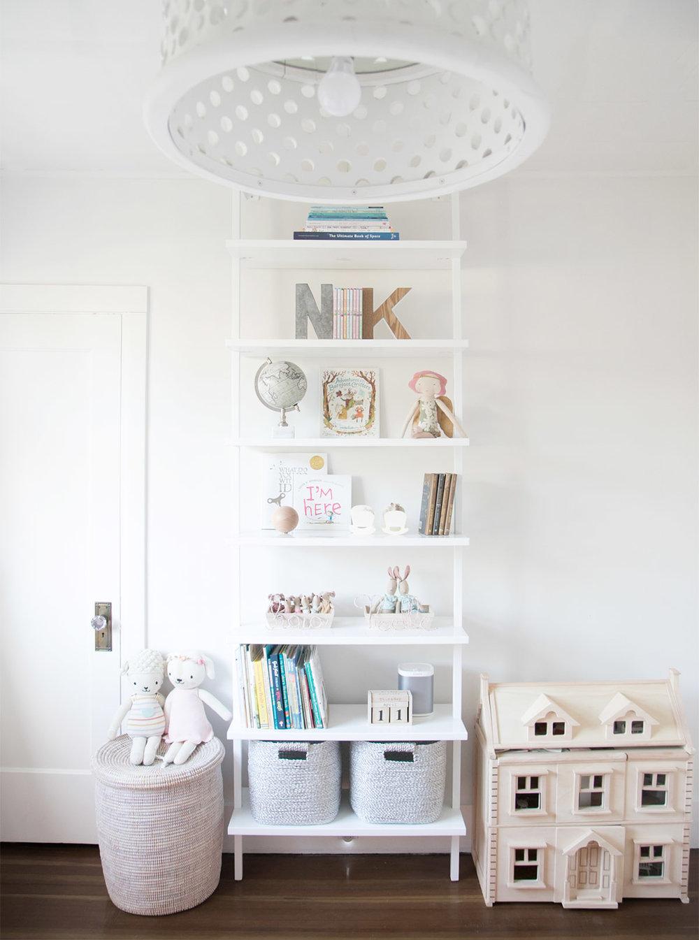 girls room styled bookshelves