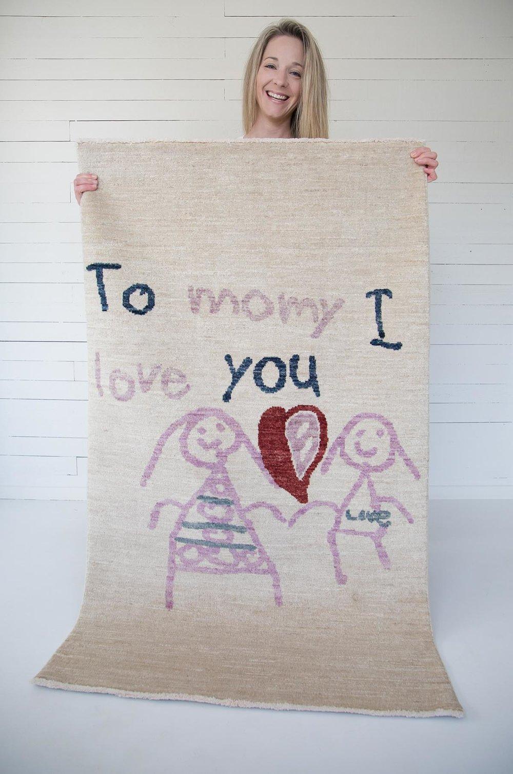 Custom rug made from child's artwork