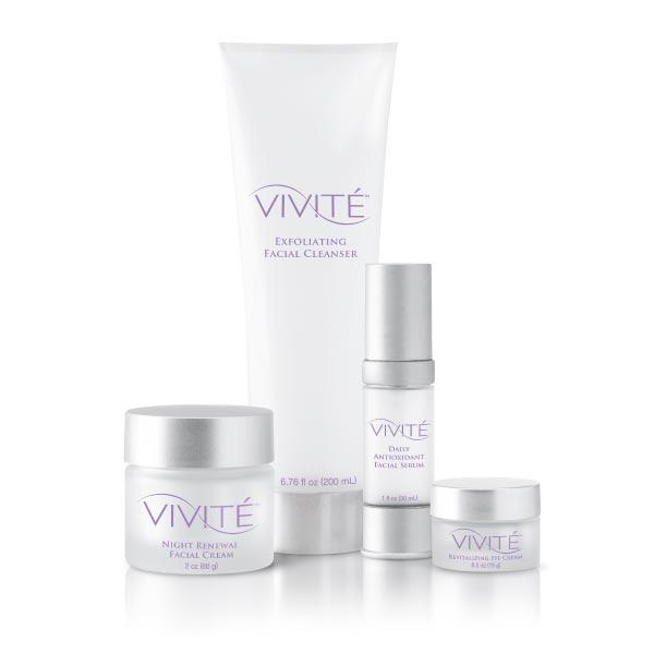 Vivité Core System:  Exfoliating Facial Cleanser (6.76 oz.) Daily Antioxidant Facial Serum (1 oz.) Night Renewal Facial Cream (2 oz.) Revitalizing Eye Cream (0.5 oz.)