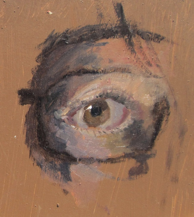 A quick study of an eye, oils.