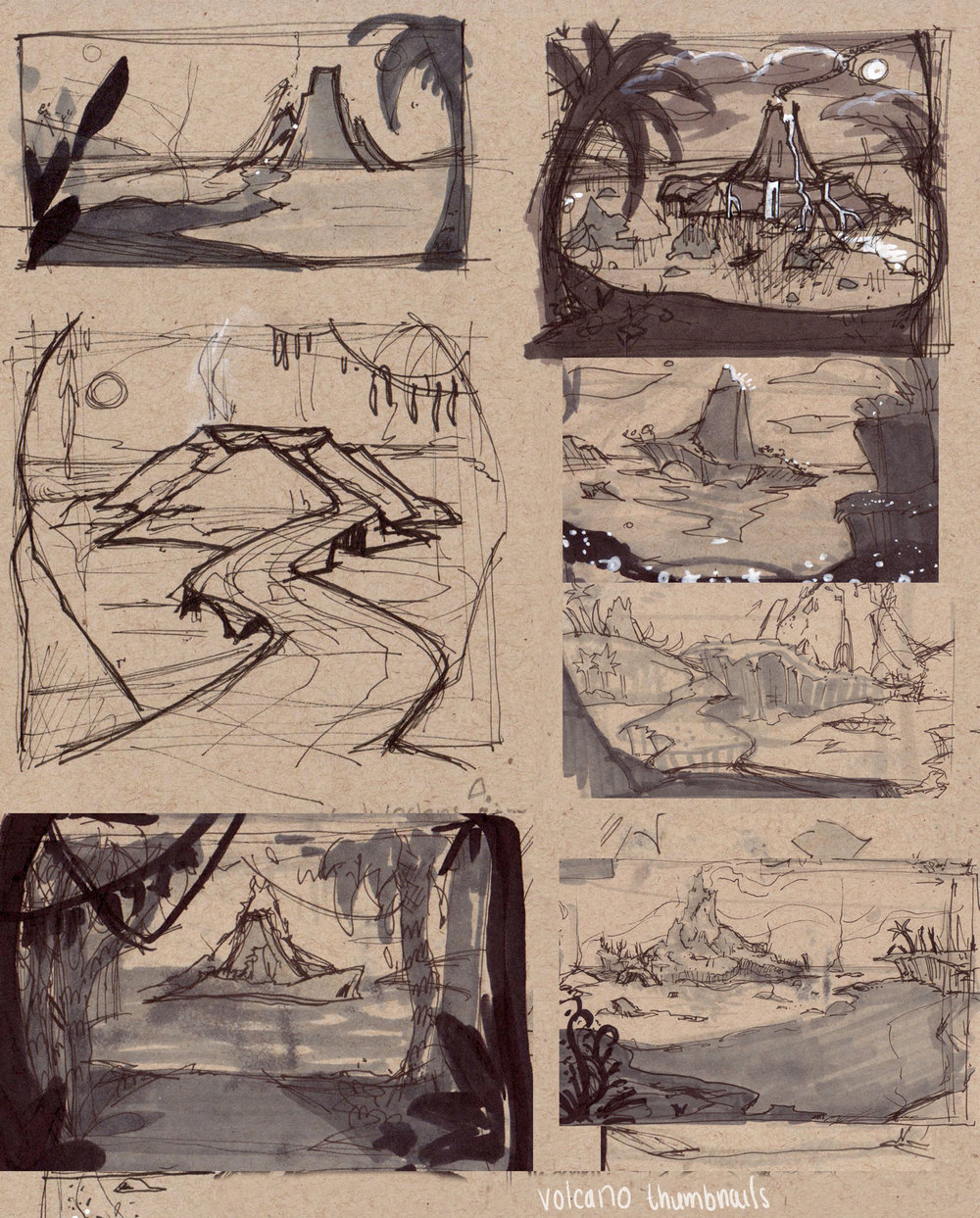 Thumbnails from The Seven Ravens, the volcano.  Copic markers, white paint markers and ink on toned paper