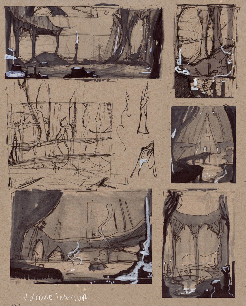 Thumbnails for The Seven Ravens, Volcano Palace interior.  The Seven Ravens tale had a sun, moon, and glass mountain as settings.  I changed the sun to volcano, using Hawaiian goddess Pele as inspiration.  Copic markers, white paint markers and ink on toned paper