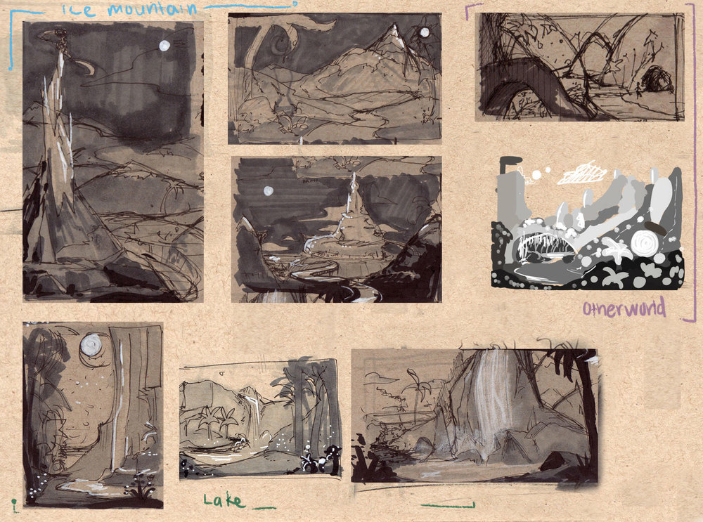 Thumbnails from the Seven Ravens.    Copic markers, white paint markers and ink on toned paper